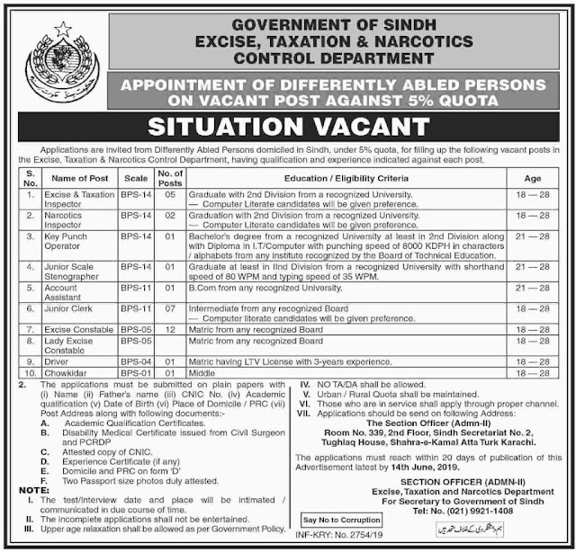 ➨ #Jobs - #Career_Opportunities - #Jobs - Sindh Govt Jobs Excise Taxation and Narcotics Control Department Last date to apply 14 June 2019