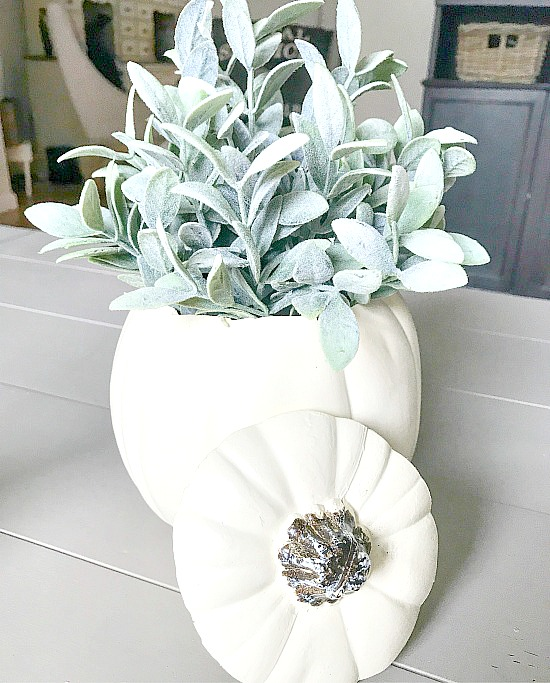 faux pumpkin centerpiece for fall