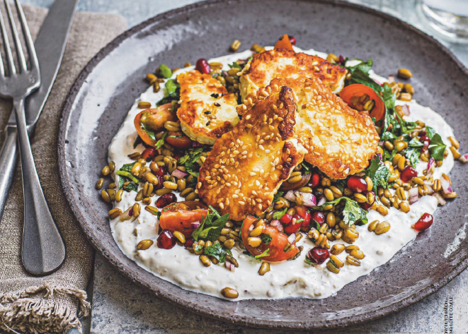 Honey and sesame halloumi with jalapeño yogurt and tabbouleh
