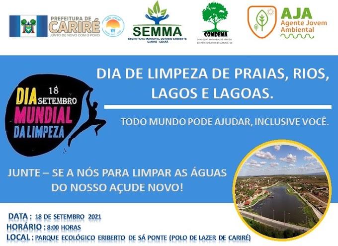 """Dia 18/09, às 8h, Cariré celebrará  o """"Dia Mundial de Limpeza de Praias, Rios, Lagos e Lagoas"""""""