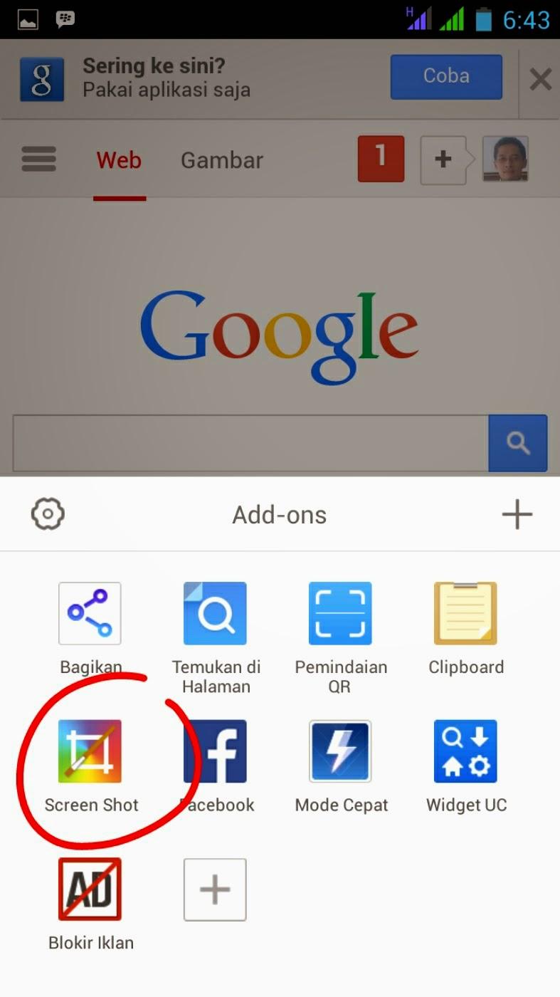 Cara tanakapan layar / screen shot di UC Browser