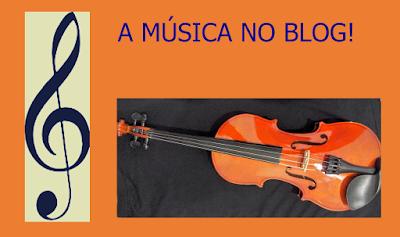 A imagem de fundo na cor laranja e no centro branco e preto tem a clave de sol e um violino que representa a música clássica e está escrita a frase a música no blog.