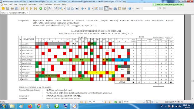 Download Kalender Pendidikan Tahun Pelajaran 2021/2022 Dinas Pendidikan Provinsi Kalimantan Tengah