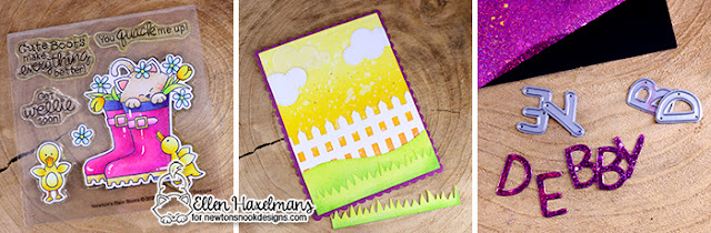 Rainboot Card by Ellen Haxelmans | Newton's Rainboots Stamp Set, Fence Die, Sky Scene Builder, Land Borders and Essential Alphabet Die Sets by Newton's Nook Designs #newtonsnook