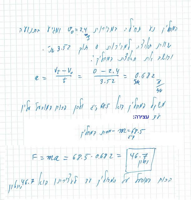 תרגיל פתור - החוק השני של ניוטון