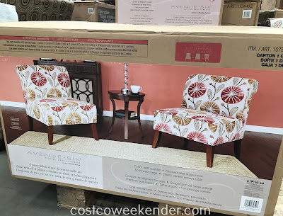 Costco 1075078 - Ave Six 3-piece Fabric Chair and Accent Table Set - Design and comfort all in one bundle