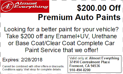 Discount Coupon $200 Off Premium Auto Paint Sale February 2018