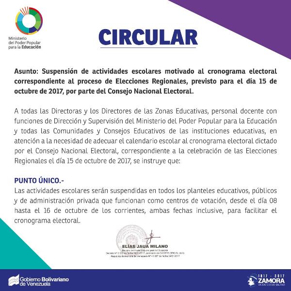 MPPE anuncia suspensión de actividades escolares por cronograma electoral del 15 de octubre