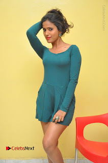 Telugu Actress Prasanthi Stills in Green Short Dress at Swachh Hyderabad Cricket Press Meet  0024.JPG