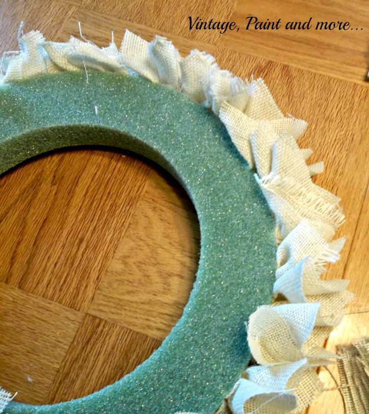 Vintage, Paint and more... wreath made from burlap and styrofoam wreath form