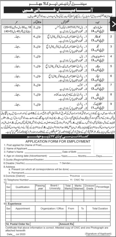 COD Kala Jhelum Jobs 2020 Pak Army Application Form Download