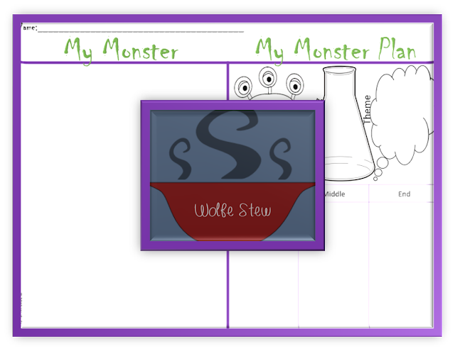 Draw the monster on the left and plan the story on the right.  Perfect for second and third grade learners.
