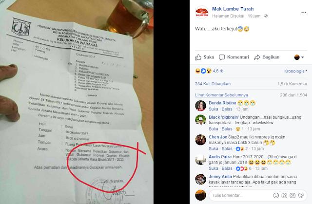 Netizen Geli! Ada Undangan Nonton Bersama Pelantikan Anies-Sandi