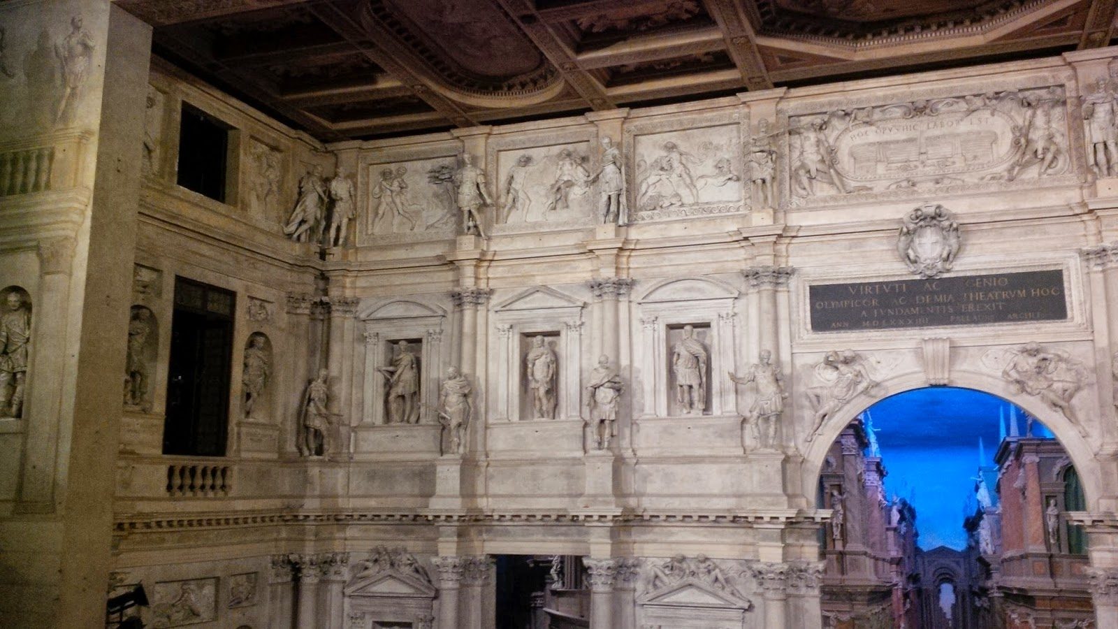 The richly ornamented stage of Teatro Olimpico in Vicenza