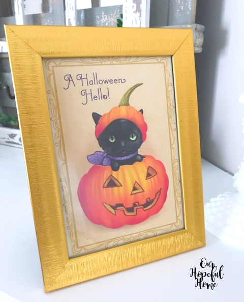 A Halloween Hello card art black cat pumpkin