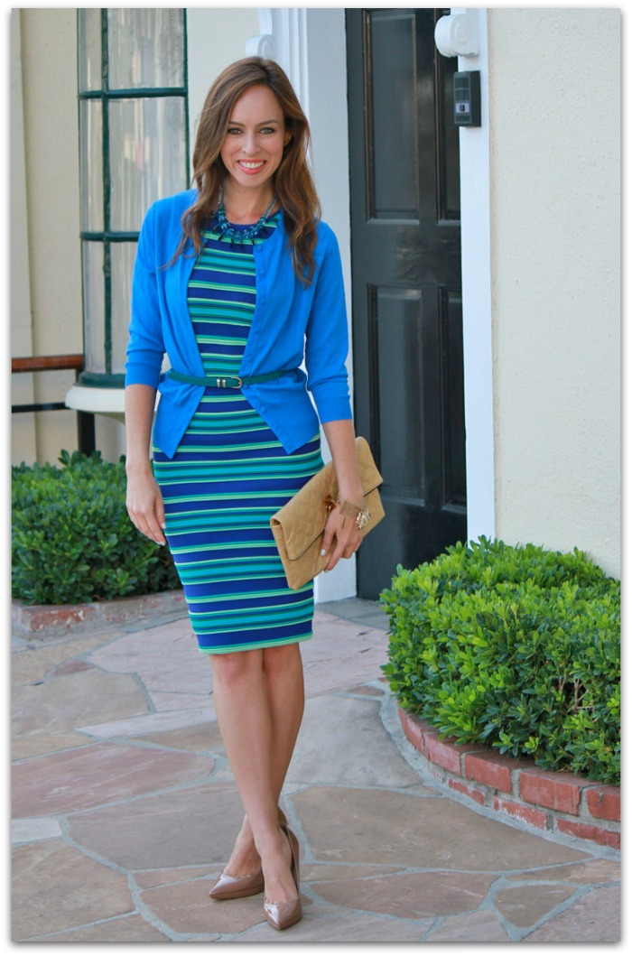 http://www.sydnestyle.com/wp-content/uploads/2013/05/Sydne-Style-Striped-Dress-cardigan-belt-blue-green-trend-work-outfit.jpg