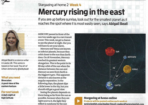 Abigail Beall brought attention to why now is good time for seeing Mercury (Source: New Scientist, 30 Nov 2019)