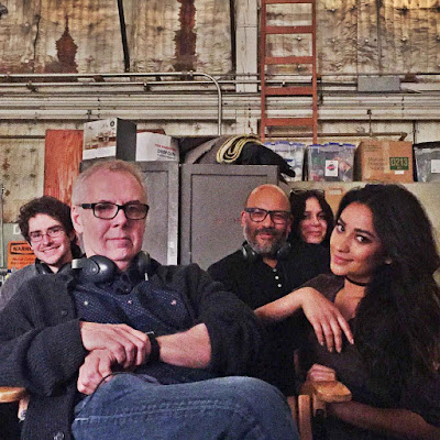 Shay Mitchell (Emily) with PLL director Norman Buckley filming 7x05