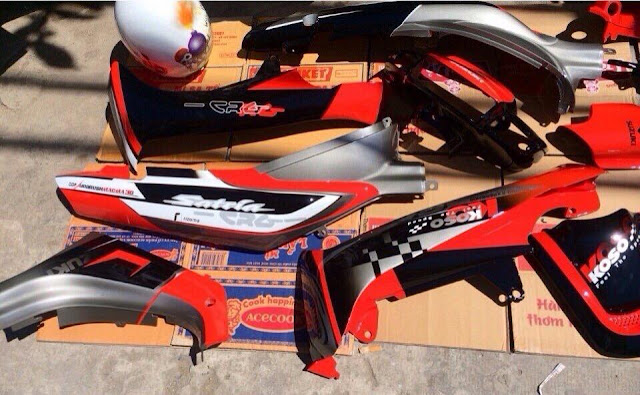 Sơn tem đấu trên xe máy Honda Sh, PS, Exciter, Luvias, Nouvo