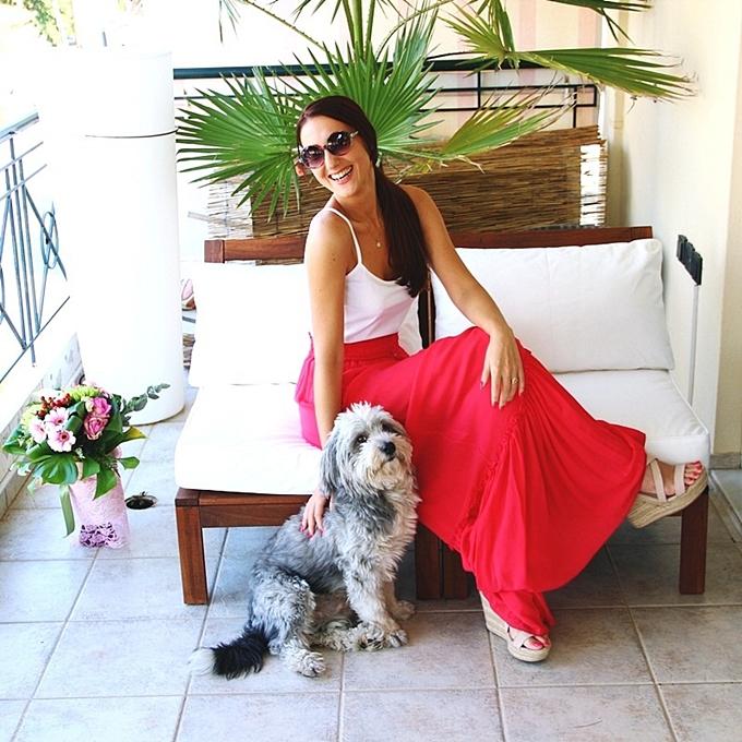 Jelena Zivanovic Instagram @lelazivanovic.Glam fab week.Lynne fousta kai top.Havanese dog.