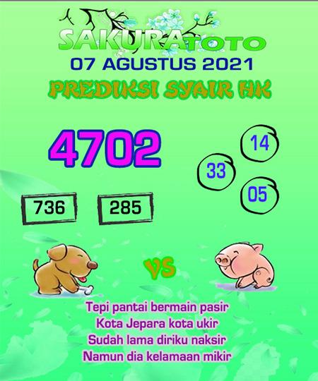 Syair HK Sabtu 07 Agustus 2021 -