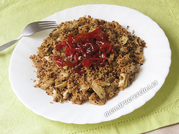 Quinoa con alcachofas y pimientos caramelizados