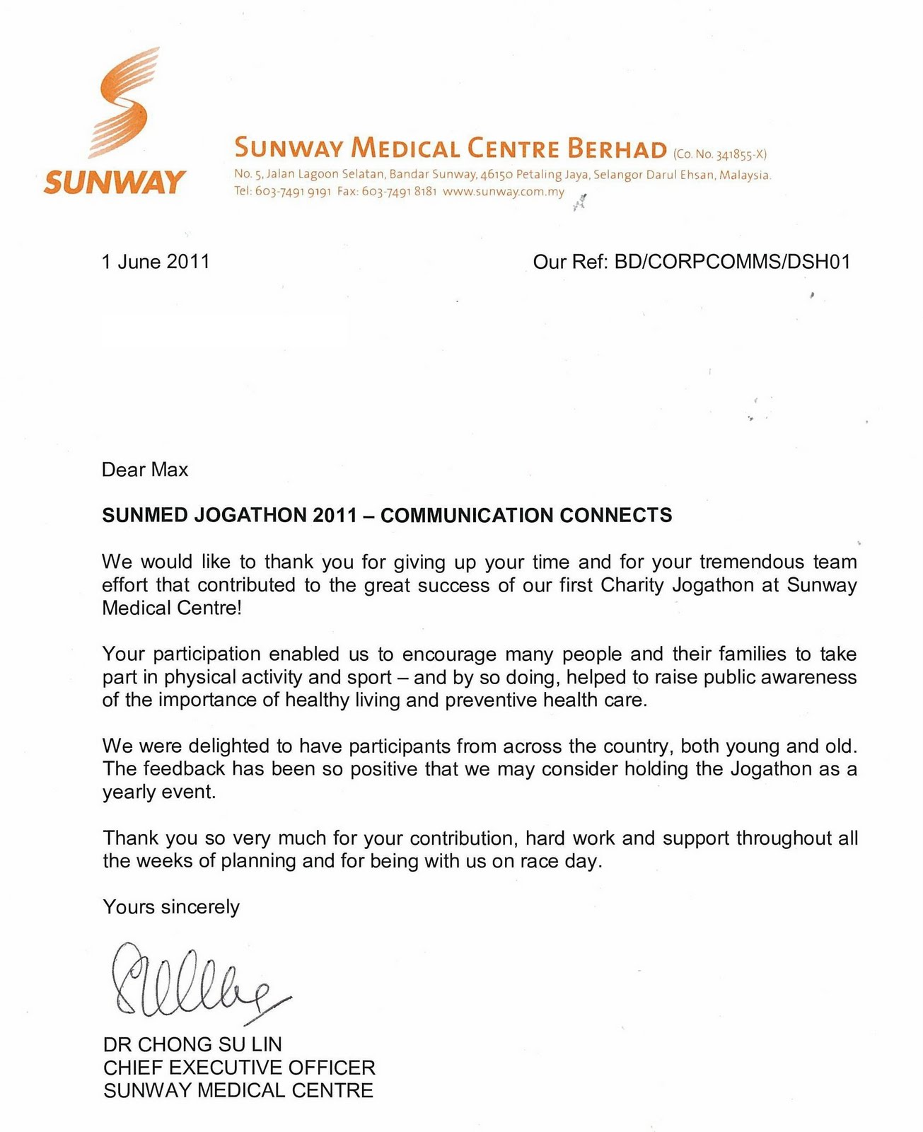 RUNNING WITH PASSION Thank You Letter From Sunway Medical CEO