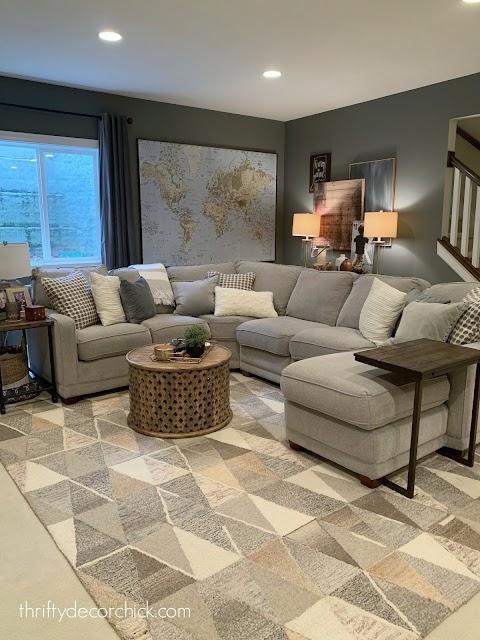 Westchester gray basement family room