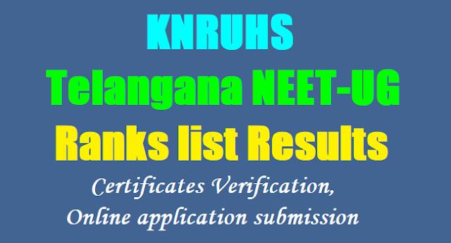 Telangana NEET UG Merit List Results