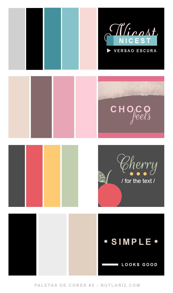 Paletas de cores fortes e fundo escuro