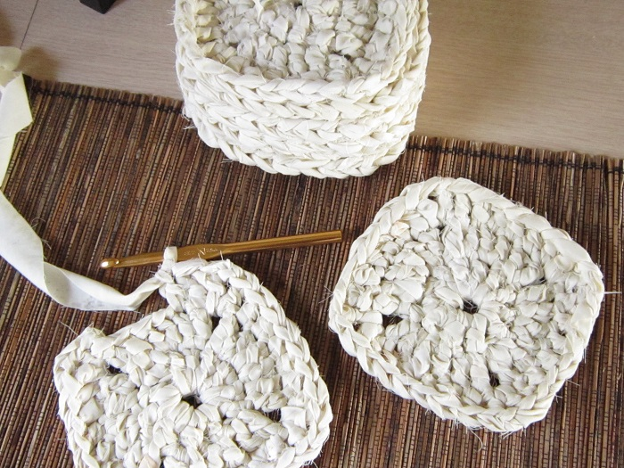 crochet, fabric scrap yarn, granny squares