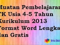 Muatan Pembelajaran TK PAUD TPA KOBER Usia 4-5 Tahun Kurikulum 2013 Format Word Lengkap dan Gratis