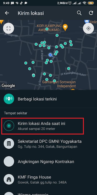 Cara Share Loc di Whatsapp 3