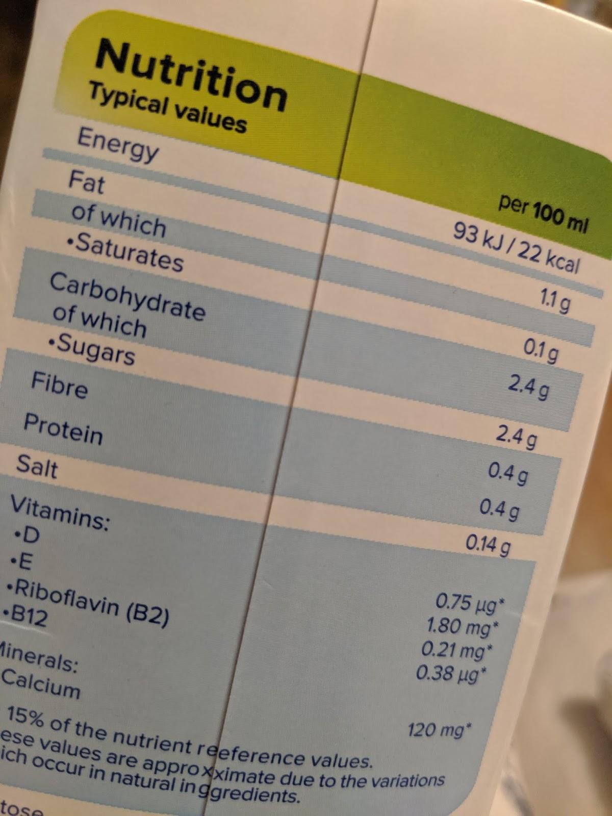 almond milk nutrition label