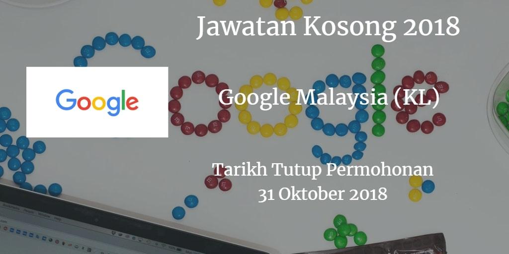 Jawatan Kosong Google Malaysia (KL) 31 Oktober 2018