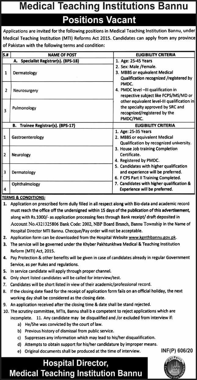 Medical Teaching Institutions MTI Jobs 2020