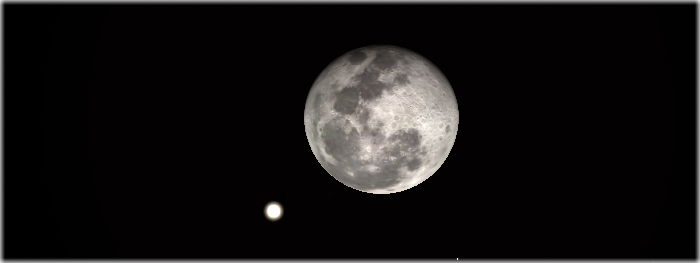 lua e saturno juntos no céu