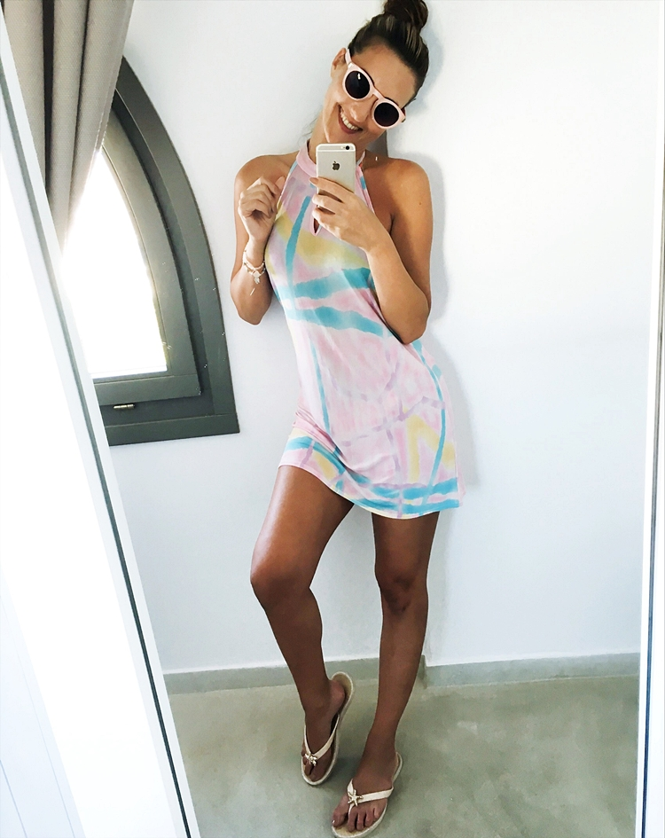 Pink mini printed sundress, holiday beachwear.