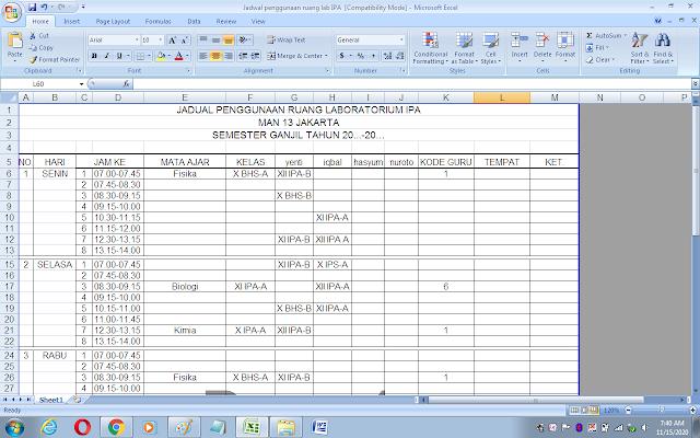 Contoh jadwal penggunaan ruang laboratorium IPA