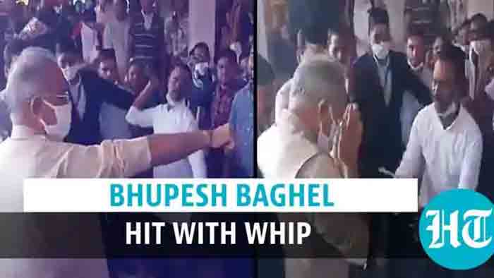 Chhattisgarh CM hit with whip on arm: Watch the video to know why, Chief Minister, Festival, Temple, Video, Religion,Twitter, National