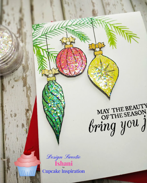 CIC, DRS designs Triple hanging christmas ornaments, Christmas ornament card, Christmas glitter card,, Christmas card, Crayon technique, Digital stamp, Quillish,  lawn fawn chunky glitter
