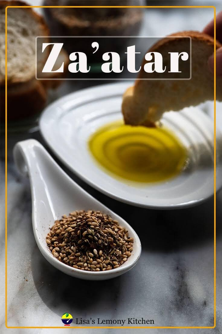 Za'atar sometimes written as Zaatar or Zahtar, is one of our favourite middle eastern spice!  Za'atar is so easy to make with ingredients that you may have in your pantry. Have za'atar with bread dip in olive oil, sprinkle on hummus or eggs,  or use as marinade or rub onto your favourite meat.