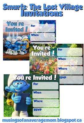 Smurfs The Lost Village Invitations