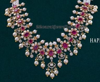 Flat Diamond Ruby Necklace