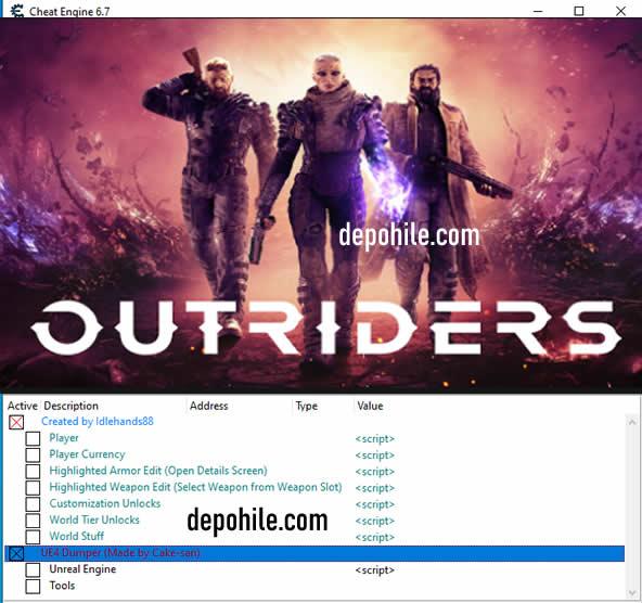 Outriders PC Oyunu Mermi, Can CT Trainer Hilesi İndir 2021