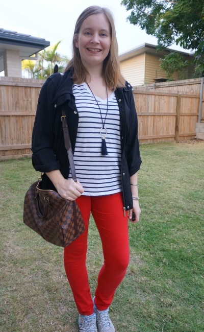 Cotton on the one striped v neck tee with red skinny jeans utility jacket speedy B | awayfromblue