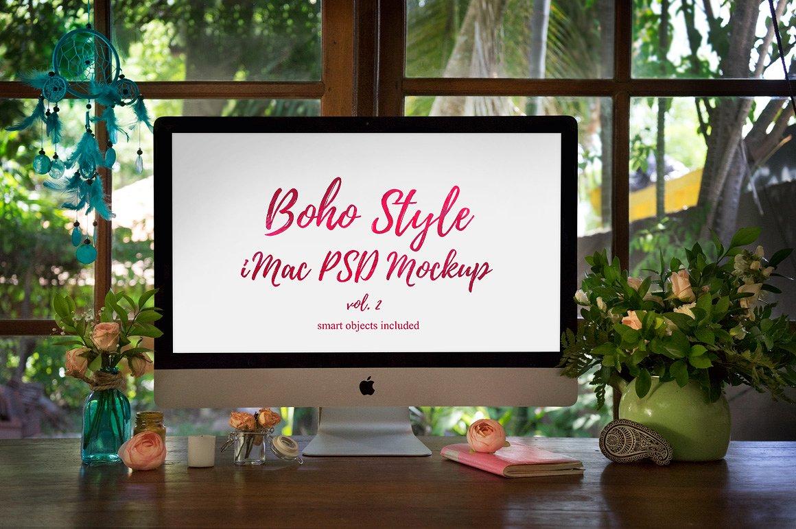 Boho Style iMac PSD Mockup