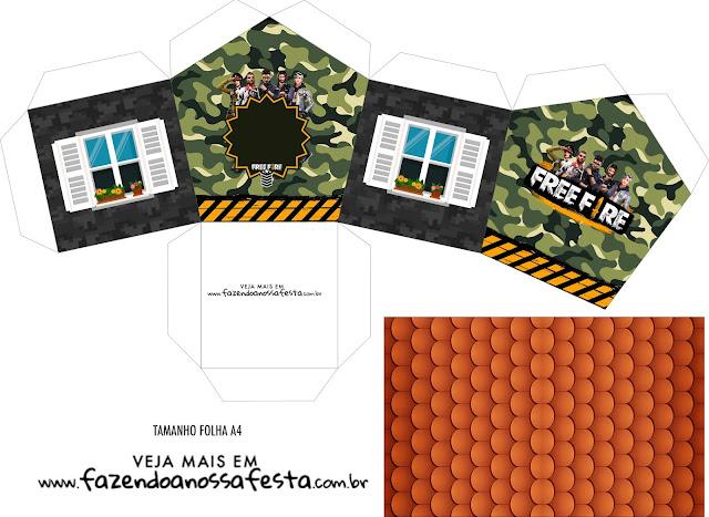 Free Fire: Caja con Forma de Casa para Imprimir Gratis.
