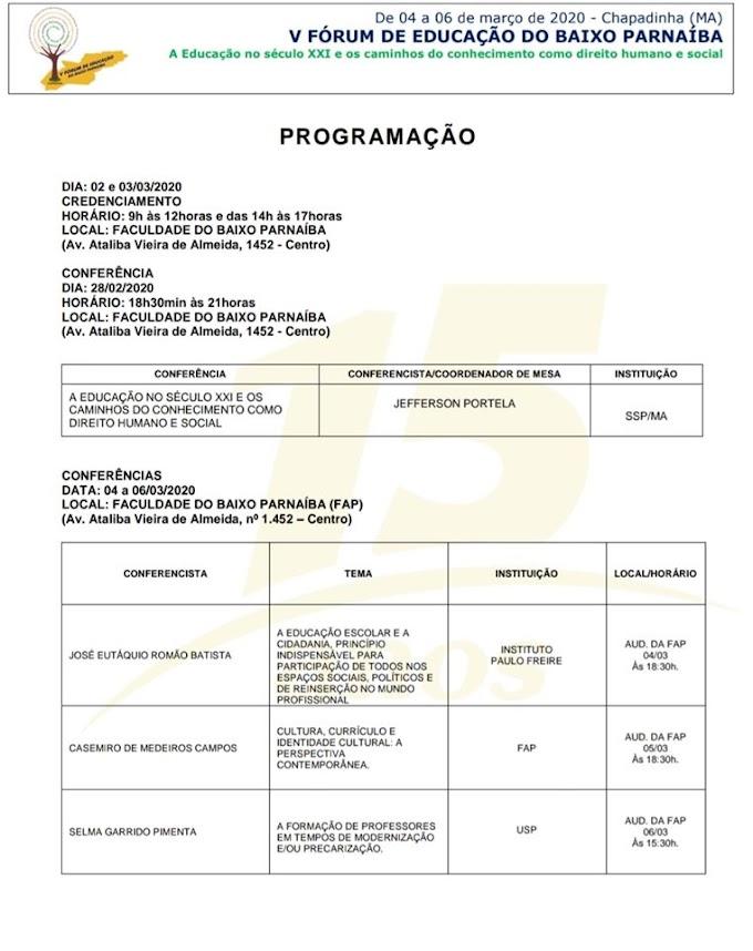 Prefeitura de Chapadinha e FAP divulgam PROGRAMAÇÃO do V FÓRUM DE EDUCAÇÃO DO BAIXO PARNAÍBA.