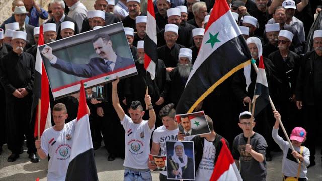 Sirios en altos de Golán manifiestan su apoyo a Bashar al-Asad